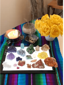 Crystals and candle